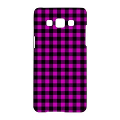 Lumberjack Fabric Pattern Pink Black Samsung Galaxy A5 Hardshell Case  by EDDArt