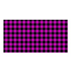 Lumberjack Fabric Pattern Pink Black Satin Shawl by EDDArt