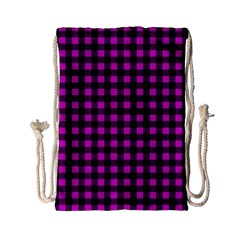 Lumberjack Fabric Pattern Pink Black Drawstring Bag (small) by EDDArt