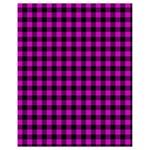 Lumberjack Fabric Pattern Pink Black Drawstring Bag (Small) Back