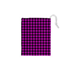 Lumberjack Fabric Pattern Pink Black Drawstring Pouches (xs)  by EDDArt