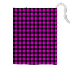 Lumberjack Fabric Pattern Pink Black Drawstring Pouches (xxl) by EDDArt