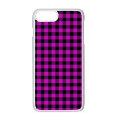 Lumberjack Fabric Pattern Pink Black Apple Iphone 7 Plus White Seamless Case by EDDArt