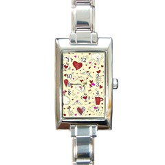 Valentinstag Love Hearts Pattern Red Yellow Rectangle Italian Charm Watch by EDDArt