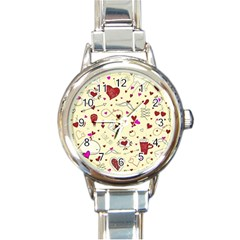 Valentinstag Love Hearts Pattern Red Yellow Round Italian Charm Watch by EDDArt