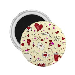 Valentinstag Love Hearts Pattern Red Yellow 2 25  Magnets by EDDArt
