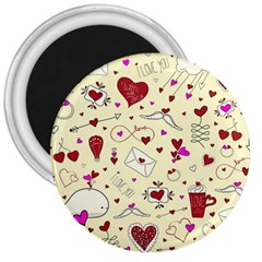 Valentinstag Love Hearts Pattern Red Yellow 3  Magnets by EDDArt