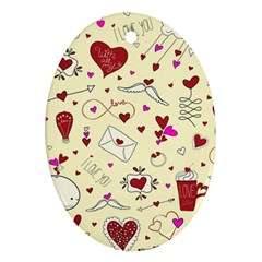 Valentinstag Love Hearts Pattern Red Yellow Ornament (oval) by EDDArt