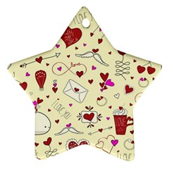 Valentinstag Love Hearts Pattern Red Yellow Ornament (star) by EDDArt