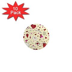 Valentinstag Love Hearts Pattern Red Yellow 1  Mini Magnet (10 Pack)  by EDDArt