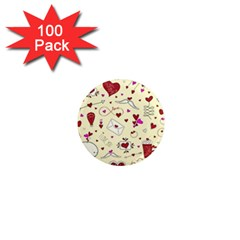 Valentinstag Love Hearts Pattern Red Yellow 1  Mini Magnets (100 Pack)  by EDDArt