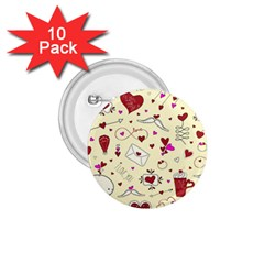 Valentinstag Love Hearts Pattern Red Yellow 1 75  Buttons (10 Pack) by EDDArt