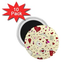 Valentinstag Love Hearts Pattern Red Yellow 1 75  Magnets (10 Pack)  by EDDArt