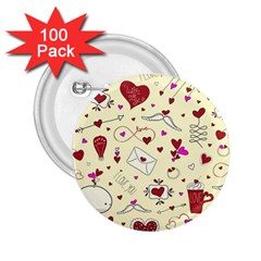 Valentinstag Love Hearts Pattern Red Yellow 2 25  Buttons (100 Pack)  by EDDArt
