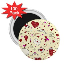 Valentinstag Love Hearts Pattern Red Yellow 2 25  Magnets (100 Pack)  by EDDArt