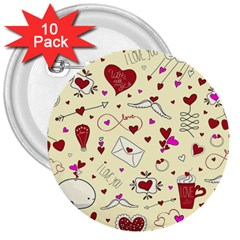 Valentinstag Love Hearts Pattern Red Yellow 3  Buttons (10 Pack)  by EDDArt