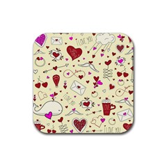 Valentinstag Love Hearts Pattern Red Yellow Rubber Coaster (square)  by EDDArt