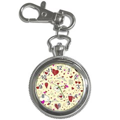 Valentinstag Love Hearts Pattern Red Yellow Key Chain Watches by EDDArt