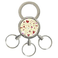 Valentinstag Love Hearts Pattern Red Yellow 3 Ring Key Chains by EDDArt
