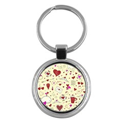 Valentinstag Love Hearts Pattern Red Yellow Key Chains (round)  by EDDArt