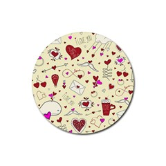 Valentinstag Love Hearts Pattern Red Yellow Rubber Round Coaster (4 Pack)  by EDDArt