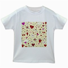 Valentinstag Love Hearts Pattern Red Yellow Kids White T Shirts by EDDArt