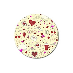 Valentinstag Love Hearts Pattern Red Yellow Magnet 3  (round) by EDDArt