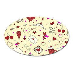 Valentinstag Love Hearts Pattern Red Yellow Oval Magnet by EDDArt