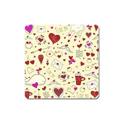 Valentinstag Love Hearts Pattern Red Yellow Square Magnet by EDDArt
