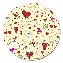 Valentinstag Love Hearts Pattern Red Yellow Magnet 5  (round) by EDDArt
