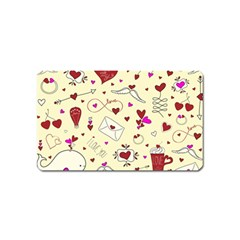 Valentinstag Love Hearts Pattern Red Yellow Magnet (name Card) by EDDArt