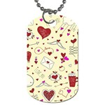 Valentinstag Love Hearts Pattern Red Yellow Dog Tag (One Side) Front