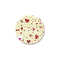 Valentinstag Love Hearts Pattern Red Yellow Golf Ball Marker (4 Pack) by EDDArt