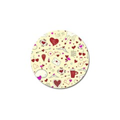 Valentinstag Love Hearts Pattern Red Yellow Golf Ball Marker (10 Pack) by EDDArt