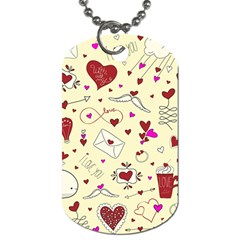 Valentinstag Love Hearts Pattern Red Yellow Dog Tag (two Sides) by EDDArt