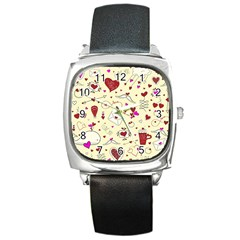 Valentinstag Love Hearts Pattern Red Yellow Square Metal Watch by EDDArt