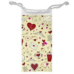 Valentinstag Love Hearts Pattern Red Yellow Jewelry Bag by EDDArt