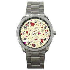 Valentinstag Love Hearts Pattern Red Yellow Sport Metal Watch by EDDArt