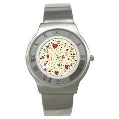 Valentinstag Love Hearts Pattern Red Yellow Stainless Steel Watch by EDDArt