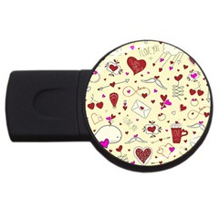 Valentinstag Love Hearts Pattern Red Yellow Usb Flash Drive Round (4 Gb) by EDDArt