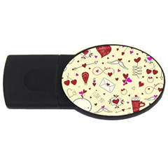 Valentinstag Love Hearts Pattern Red Yellow Usb Flash Drive Oval (4 Gb) by EDDArt