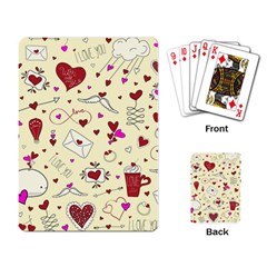 Valentinstag Love Hearts Pattern Red Yellow Playing Card by EDDArt