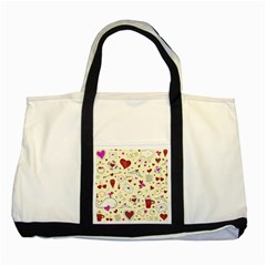 Valentinstag Love Hearts Pattern Red Yellow Two Tone Tote Bag by EDDArt