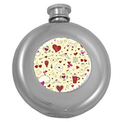 Valentinstag Love Hearts Pattern Red Yellow Round Hip Flask (5 Oz) by EDDArt