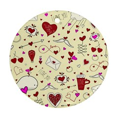 Valentinstag Love Hearts Pattern Red Yellow Round Ornament (two Sides) by EDDArt