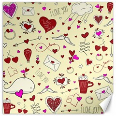 Valentinstag Love Hearts Pattern Red Yellow Canvas 20  X 20   by EDDArt