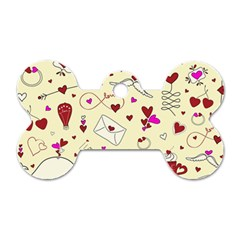 Valentinstag Love Hearts Pattern Red Yellow Dog Tag Bone (two Sides) by EDDArt