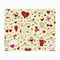 Valentinstag Love Hearts Pattern Red Yellow Small Glasses Cloth (2 Side) by EDDArt