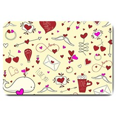 Valentinstag Love Hearts Pattern Red Yellow Large Doormat  by EDDArt