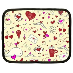 Valentinstag Love Hearts Pattern Red Yellow Netbook Case (large) by EDDArt